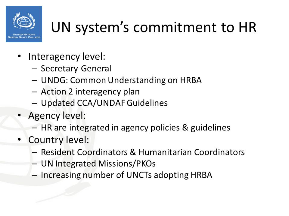 UN system's commitment to HR
