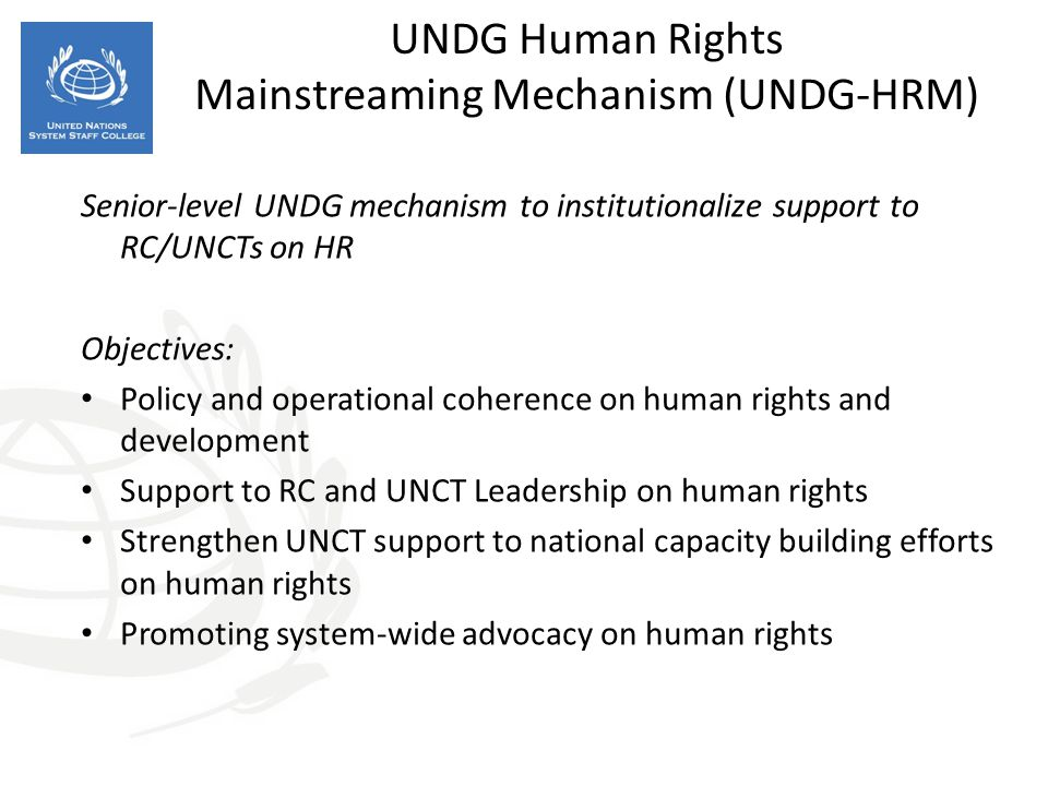 UNDG Human Rights Mainstreaming Mechanism (UNDG-HRM)
