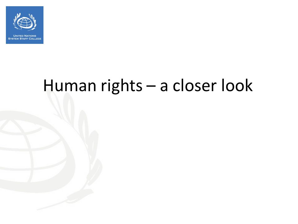 Human rights – a closer look