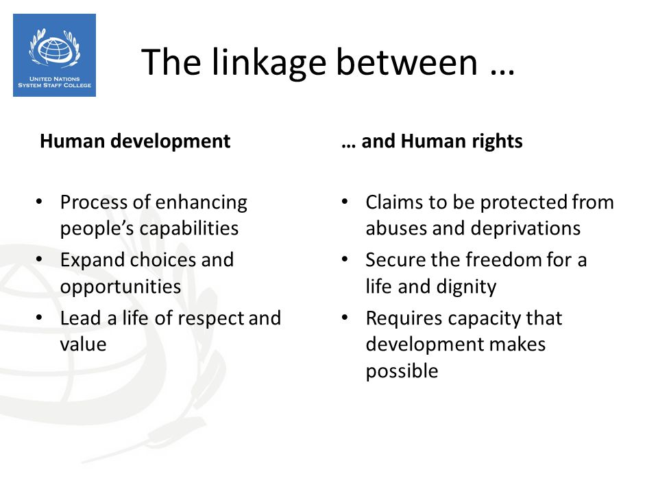 The linkage between … Human development … and Human rights