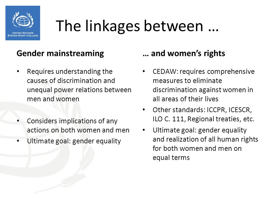 The linkages between … Gender mainstreaming … and women's rights