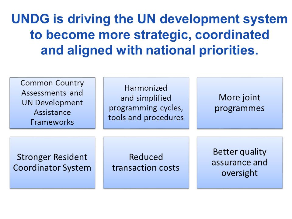 UNDG is driving the UN development system to become more strategic, coordinated and aligned with national priorities.