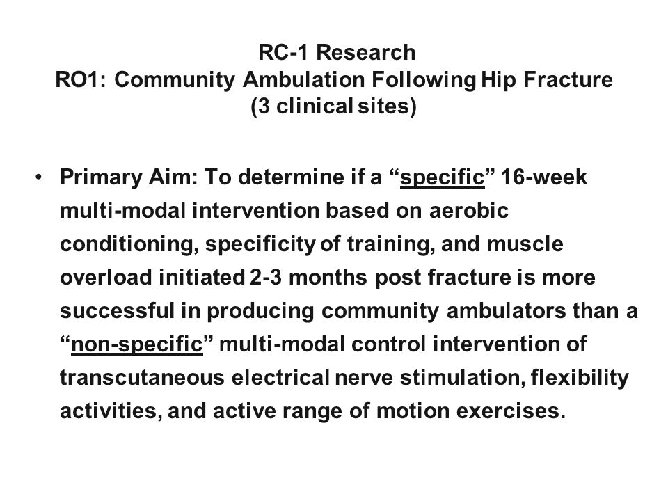RO1: Community Ambulation Following Hip Fracture