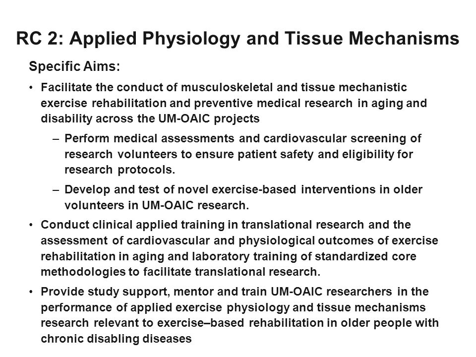 RC 2: Applied Physiology and Tissue Mechanisms