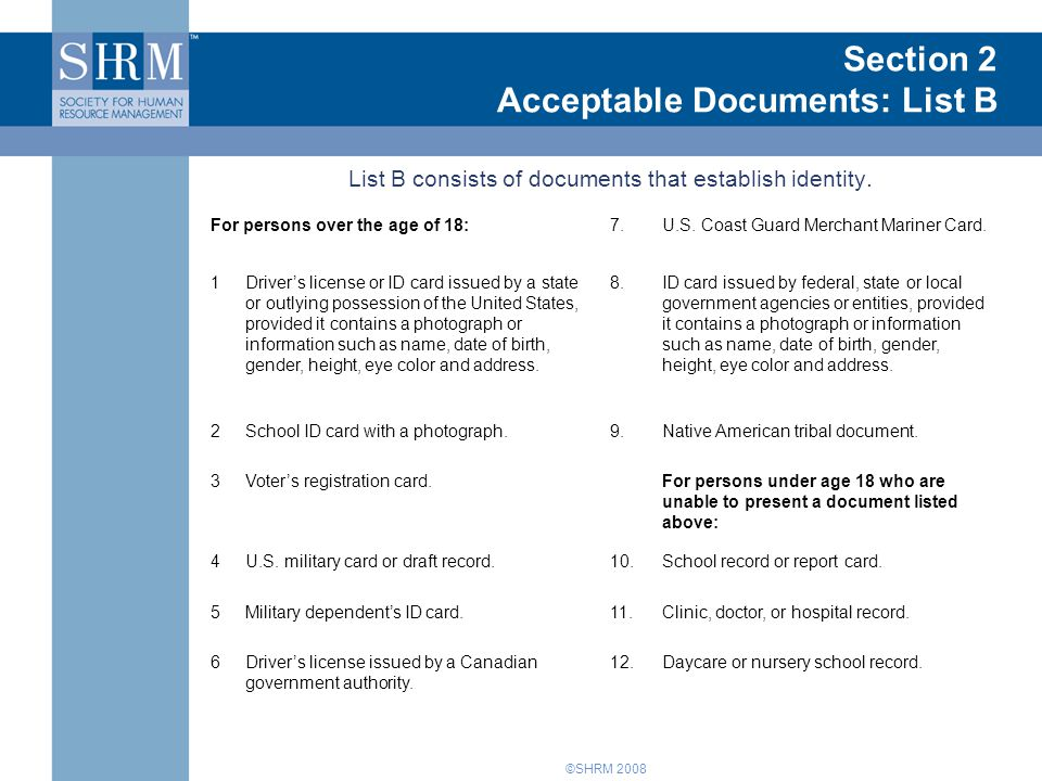 Introduction to Form I-9 Section 2 Acceptable Documents: List B