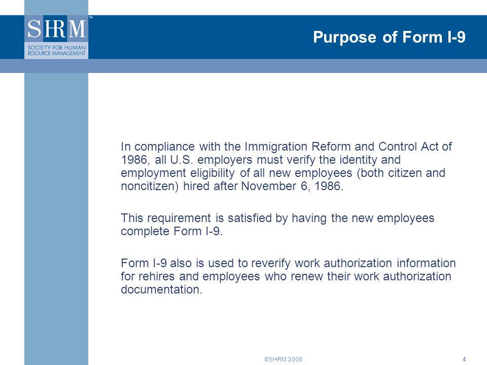 Purpose of Form I-9