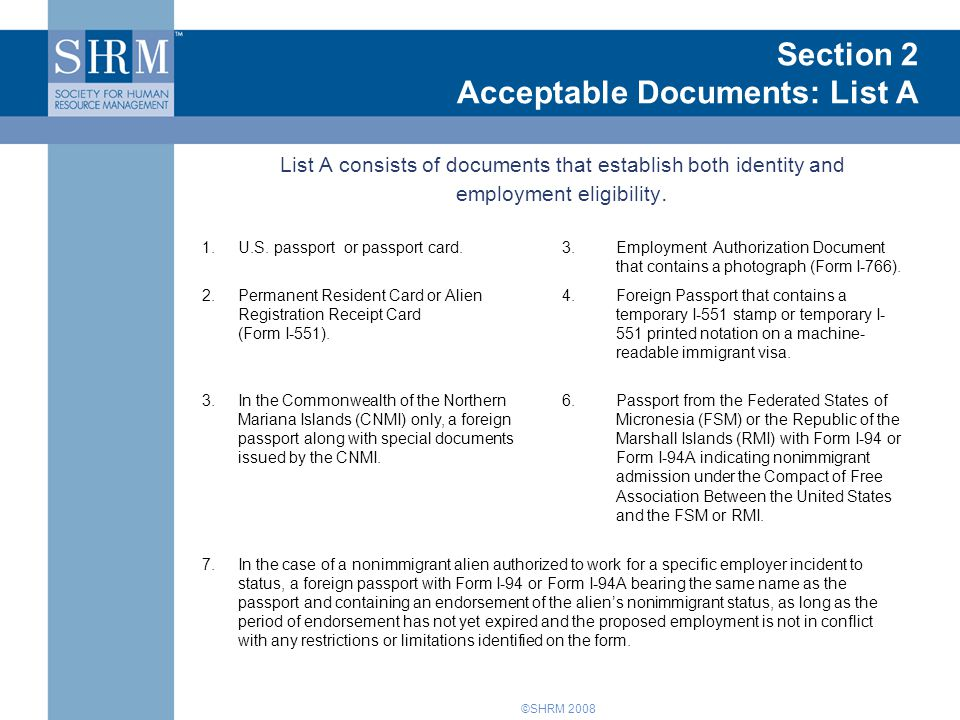 Introduction to Form I-9 Section 2 Acceptable Documents: List A