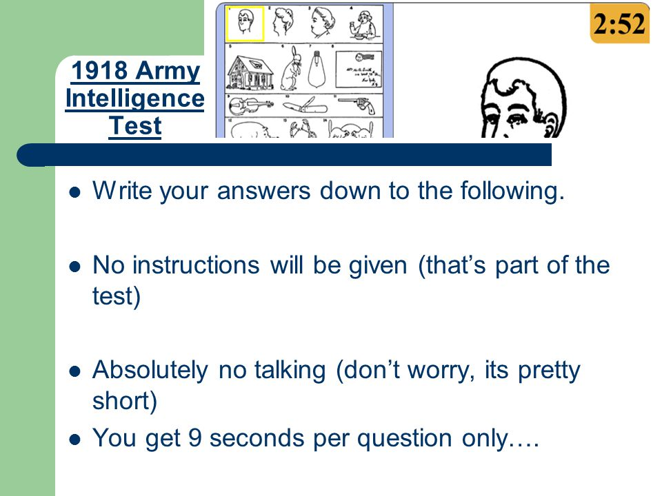 1918 Army Intelligence Test