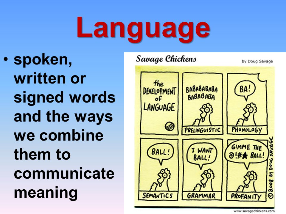 Language spoken, written or signed words and the ways we combine them to communicate meaning