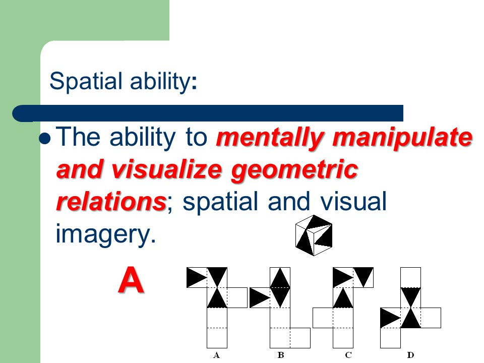 Spatial ability: The ability to mentally manipulate and visualize geometric relations; spatial and visual imagery.