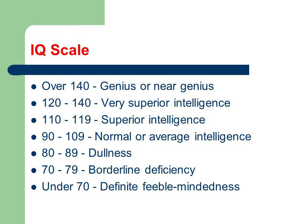 IQ Scale Over 140 - Genius or near genius