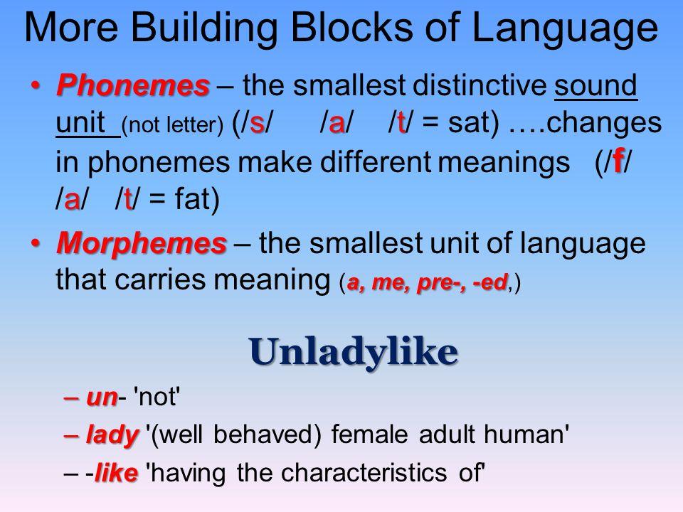 More Building Blocks of Language