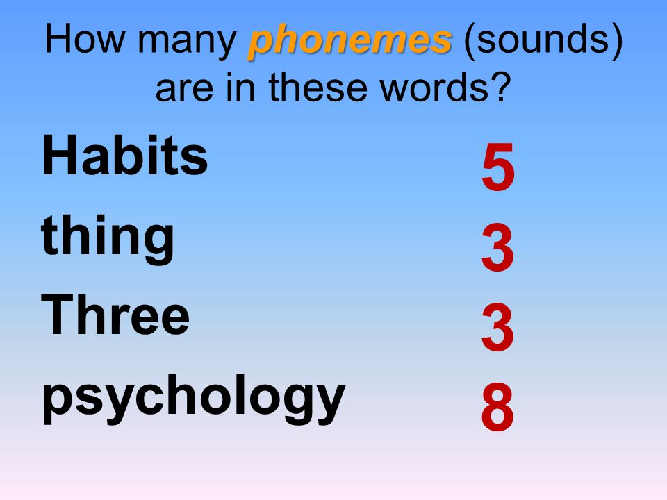 How many phonemes (sounds) are in these words