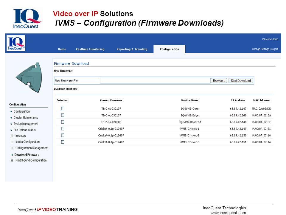 Video over IP Solutions iVMS – Configuration (Firmware Downloads)