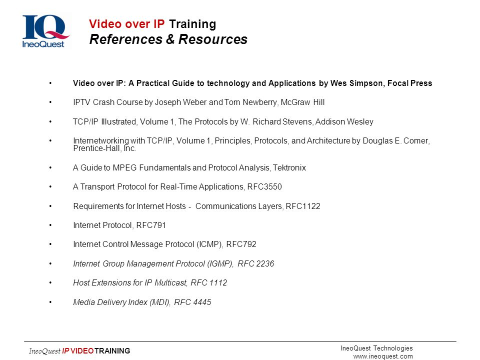 Video over IP Training References & Resources