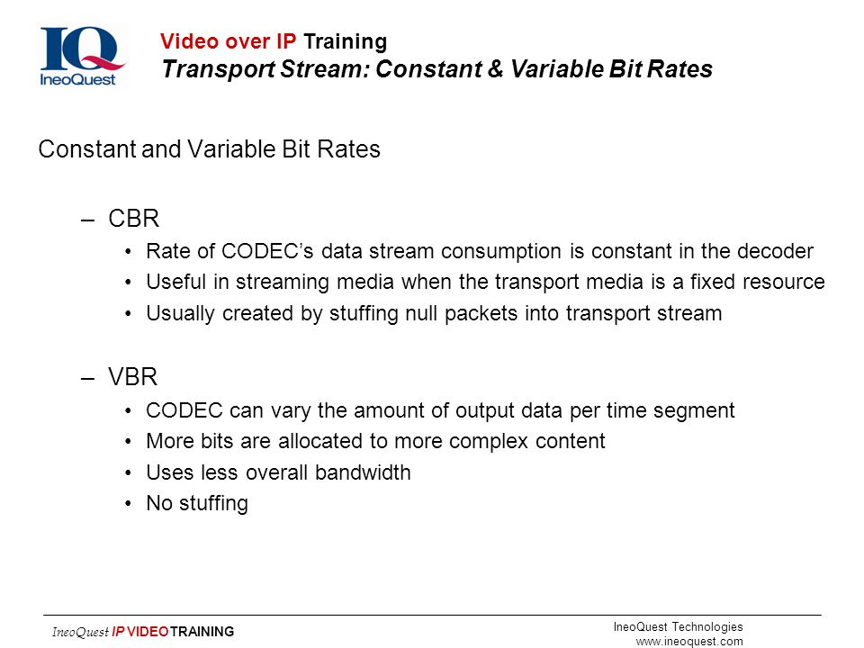 Constant and Variable Bit Rates CBR