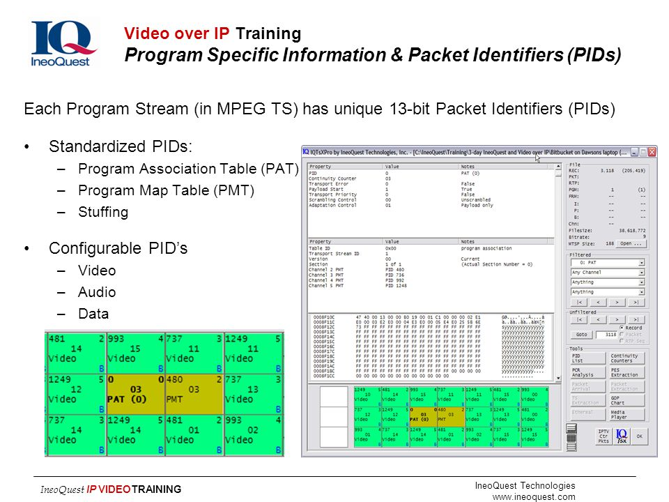 Video over IP Training Program Specific Information & Packet Identifiers (PIDs)