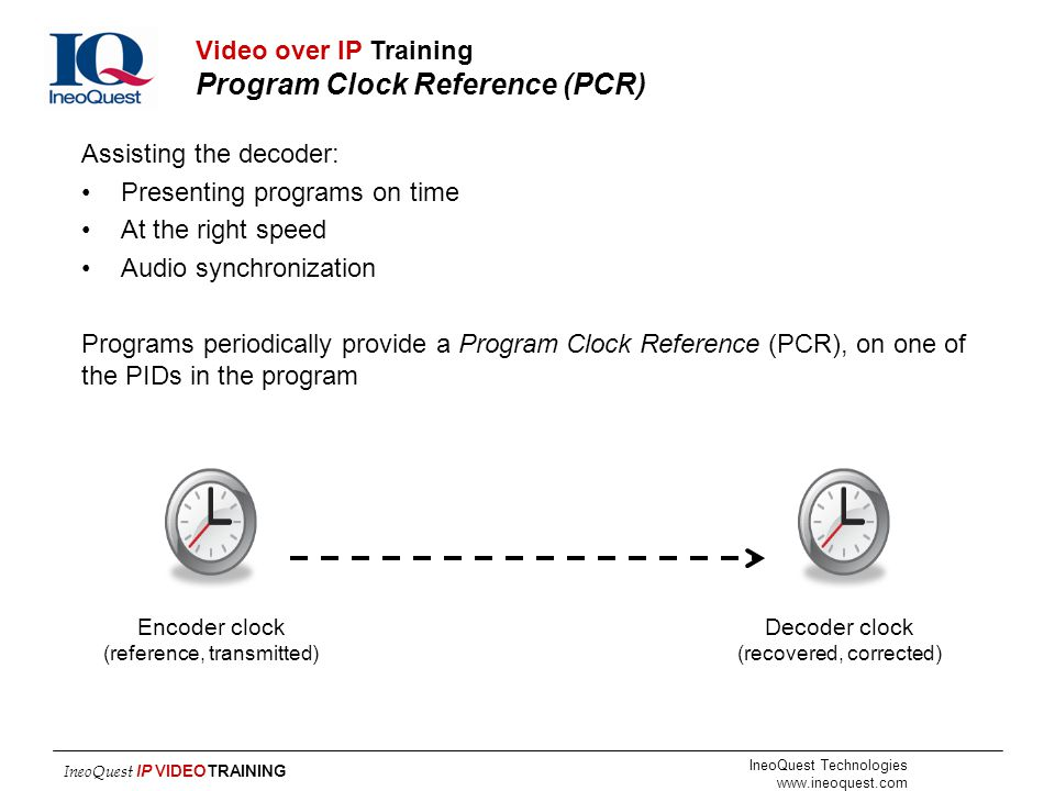 Video over IP Training Program Clock Reference (PCR)