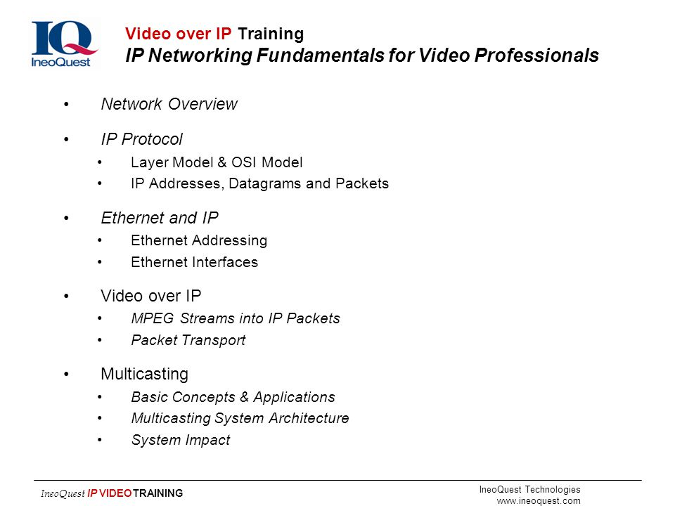 Video over IP Training IP Networking Fundamentals for Video Professionals