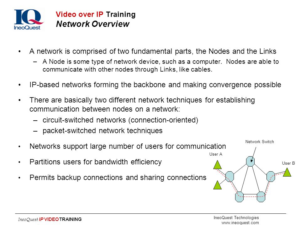 Video over IP Training Network Overview