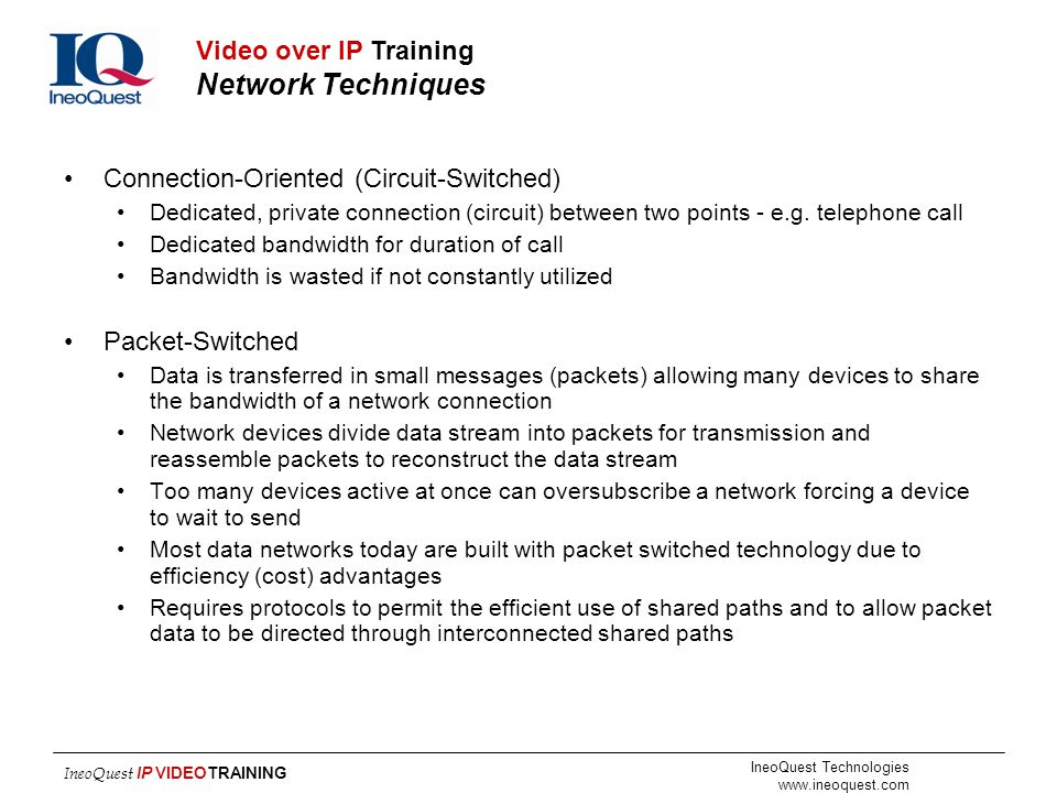 Video over IP Training Network Techniques