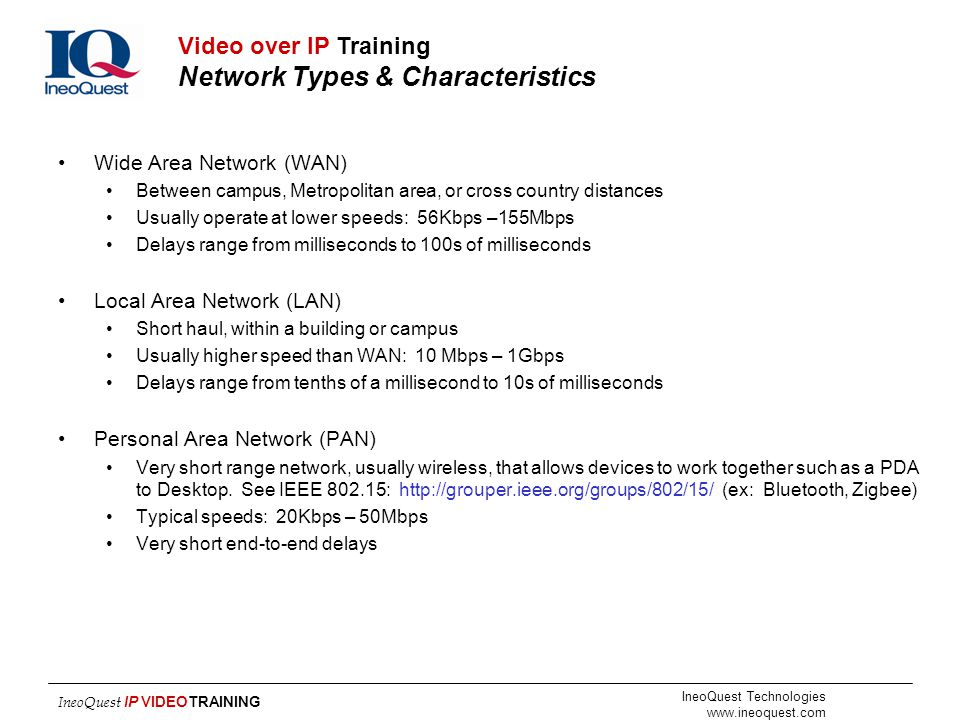 Video over IP Training Network Types & Characteristics