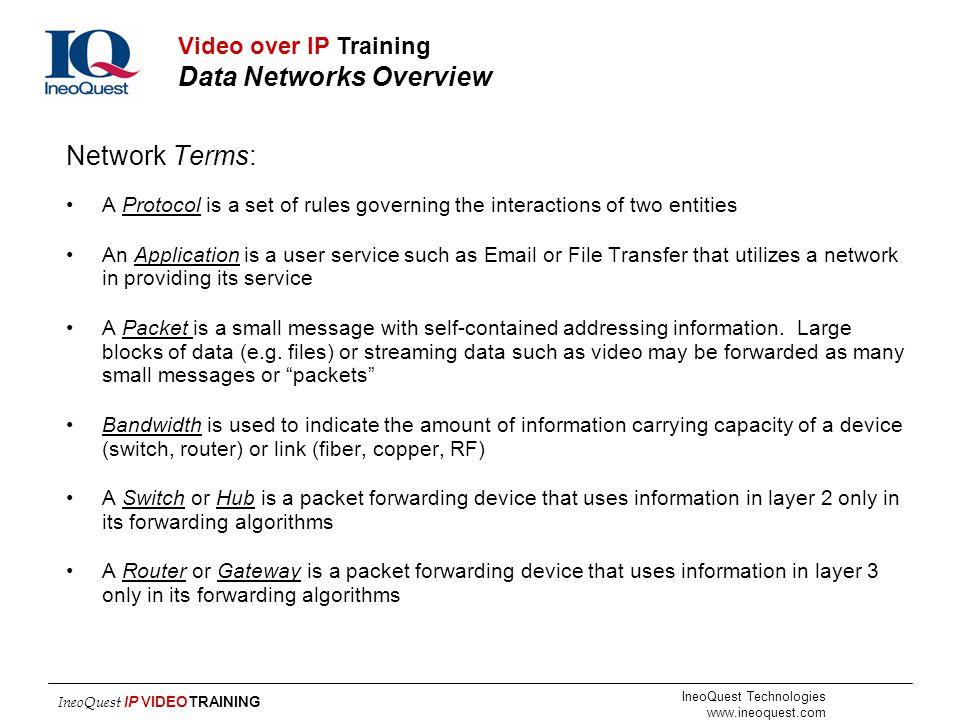 Network Terms: Video over IP Training Data Networks Overview