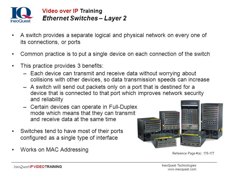 Video over IP Training Ethernet Switches – Layer 2
