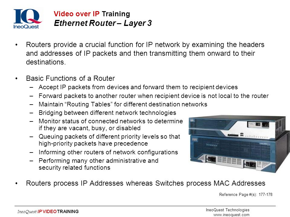 Video over IP Training Ethernet Router – Layer 3