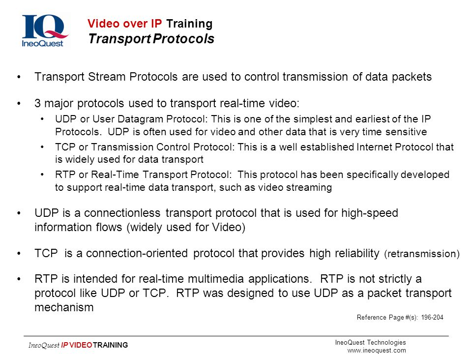 Video over IP Training Transport Protocols