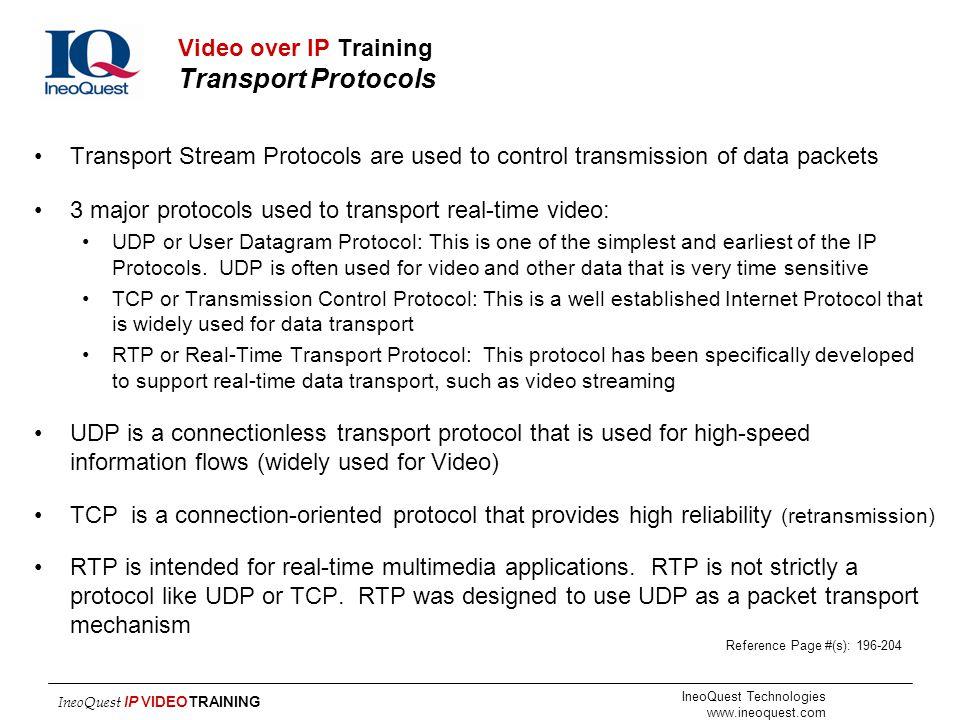 Video over IP Training Transport Protocols