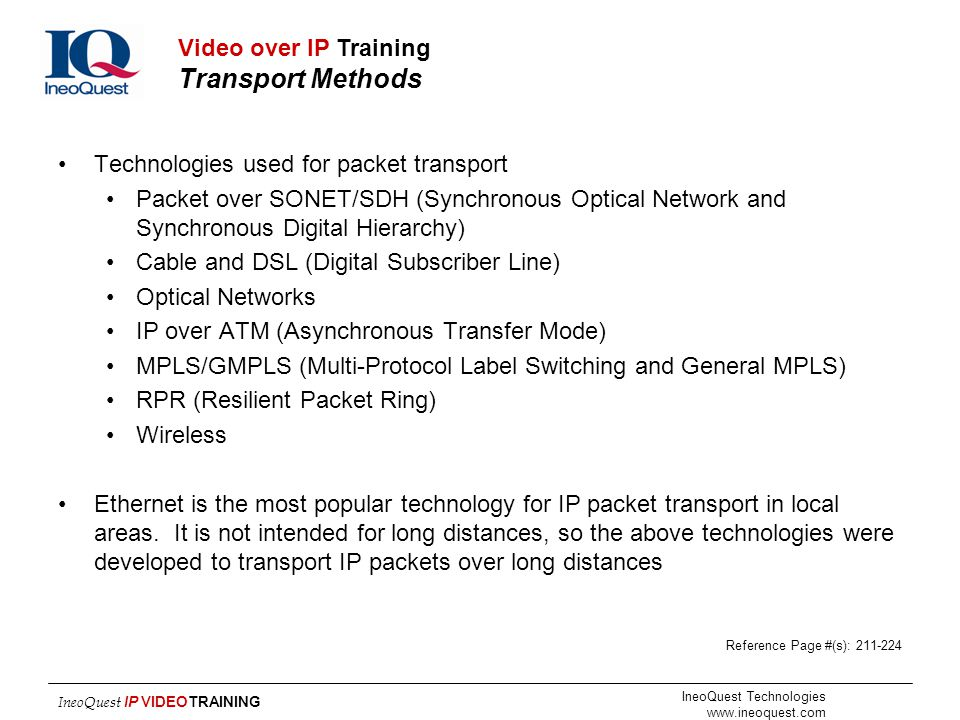 Video over IP Training Transport Methods