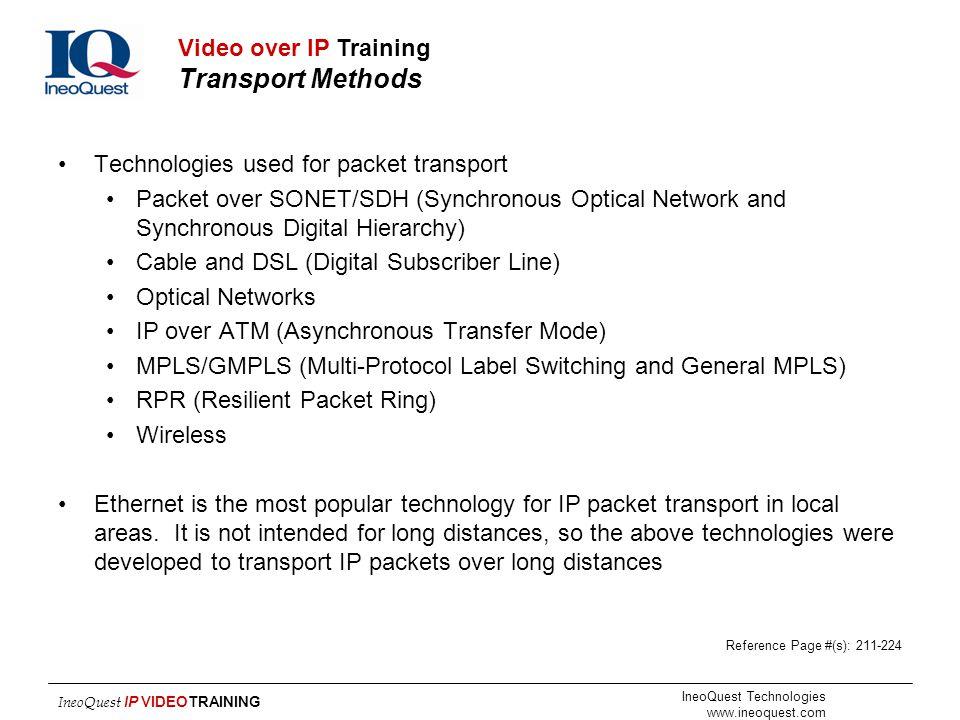 Video over IP Training Transport Methods