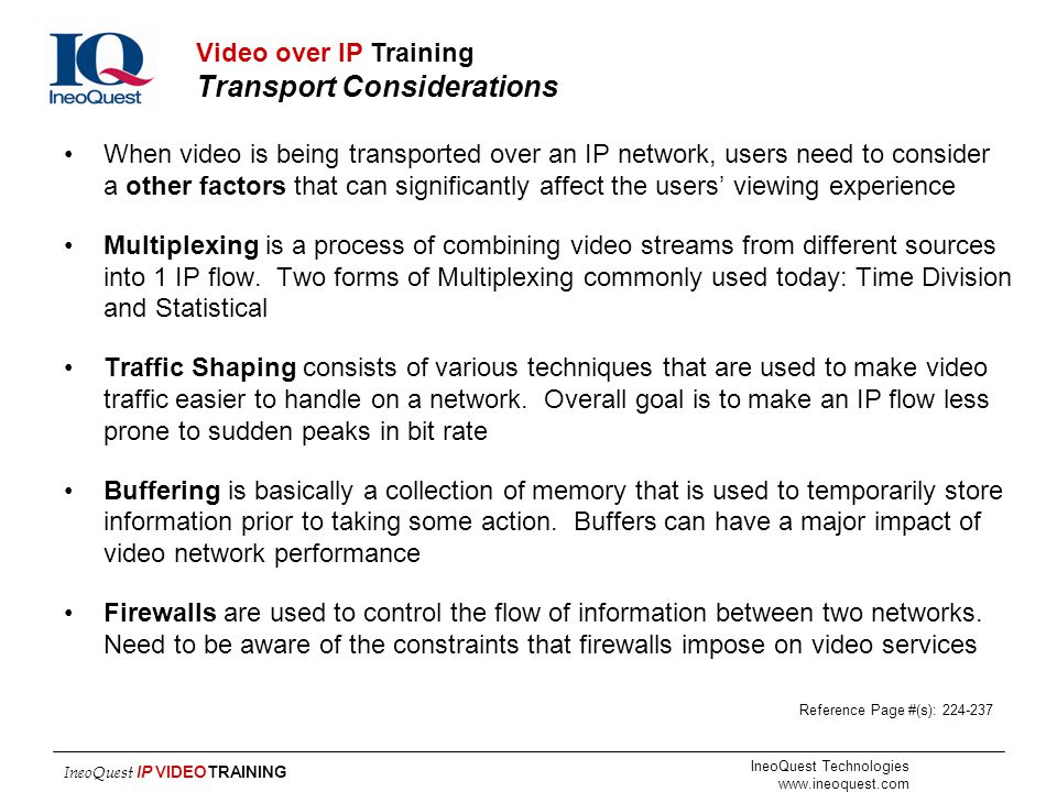 Video over IP Training Transport Considerations