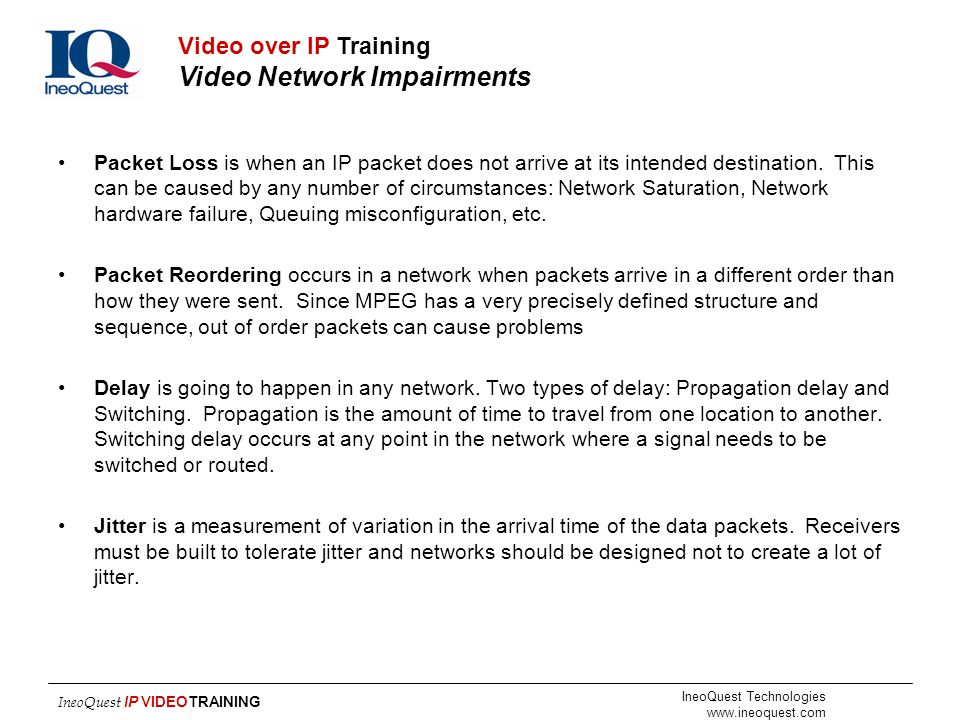 Video over IP Training Video Network Impairments