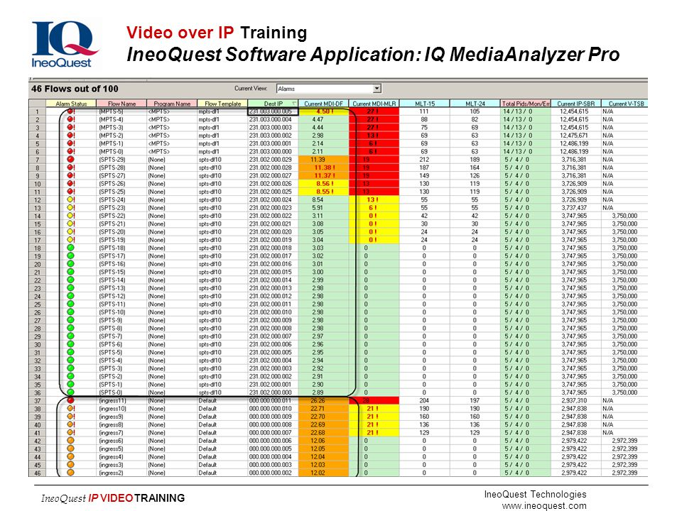 Video over IP Training IneoQuest Software Application: IQ MediaAnalyzer Pro