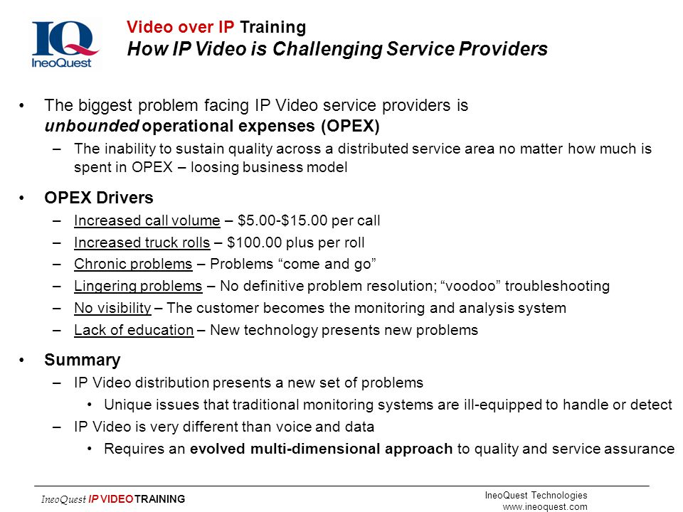 Video over IP Training How IP Video is Challenging Service Providers