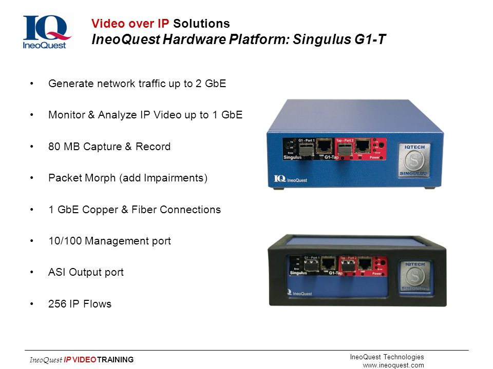 Video over IP Solutions IneoQuest Hardware Platform: Singulus G1-T