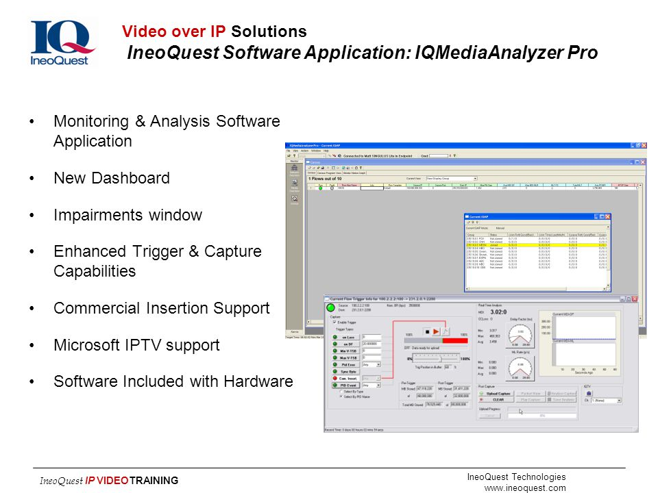 Video over IP Solutions IneoQuest Software Application: IQMediaAnalyzer Pro