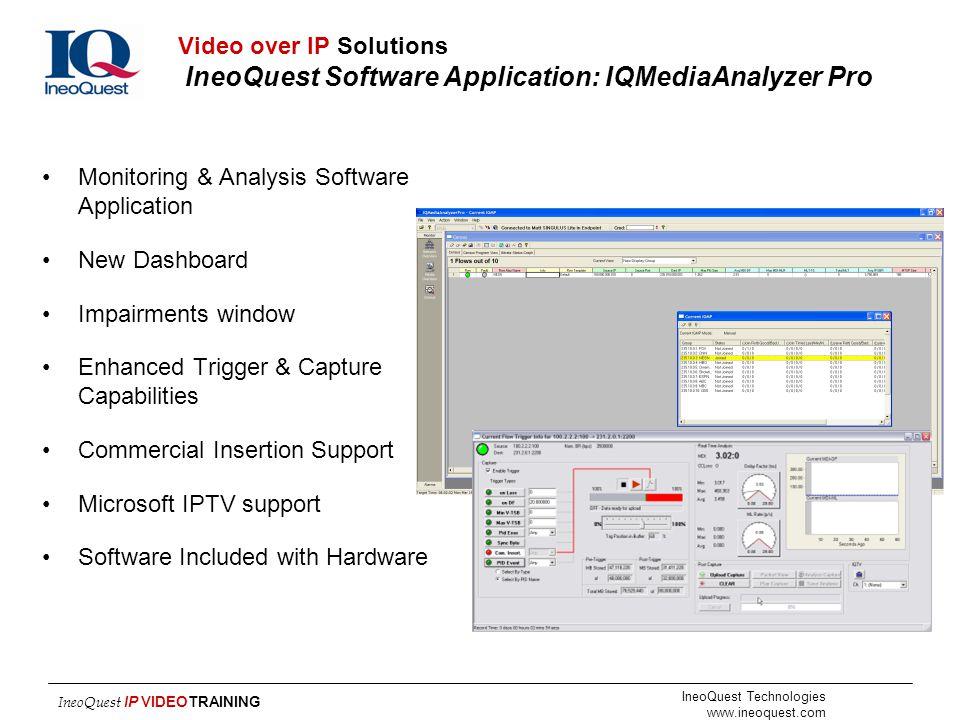 Video over IP Solutions IneoQuest Software Application: IQMediaAnalyzer Pro