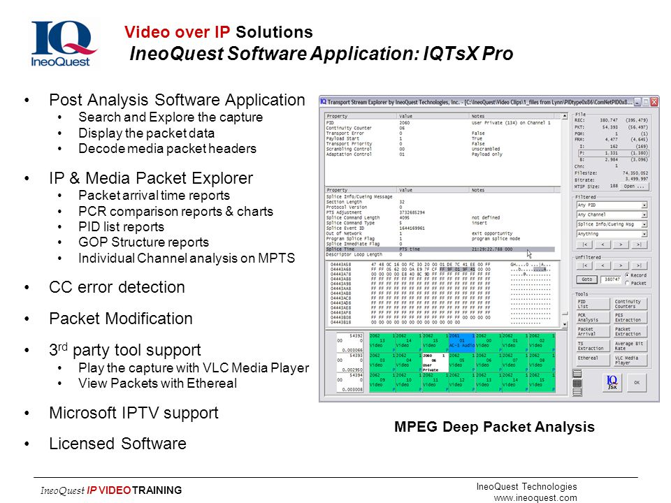 Video over IP Solutions IneoQuest Software Application: IQTsX Pro