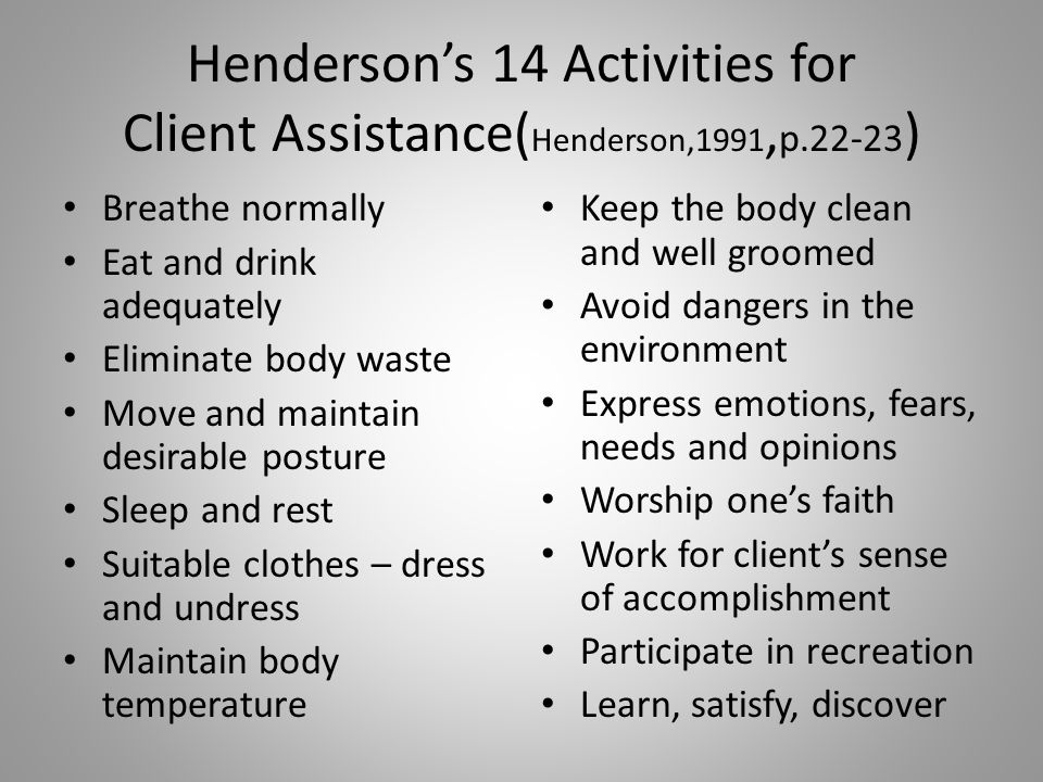 Henderson's 14 Activities for Client Assistance(Henderson,1991,p
