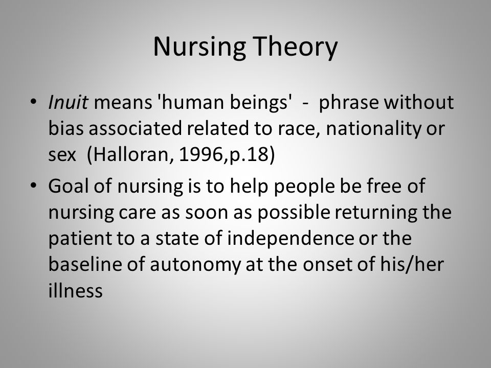 Nursing TheoryInuit means human beings - phrase without bias associated related to race, nationality or sex (Halloran, 1996,p.18)
