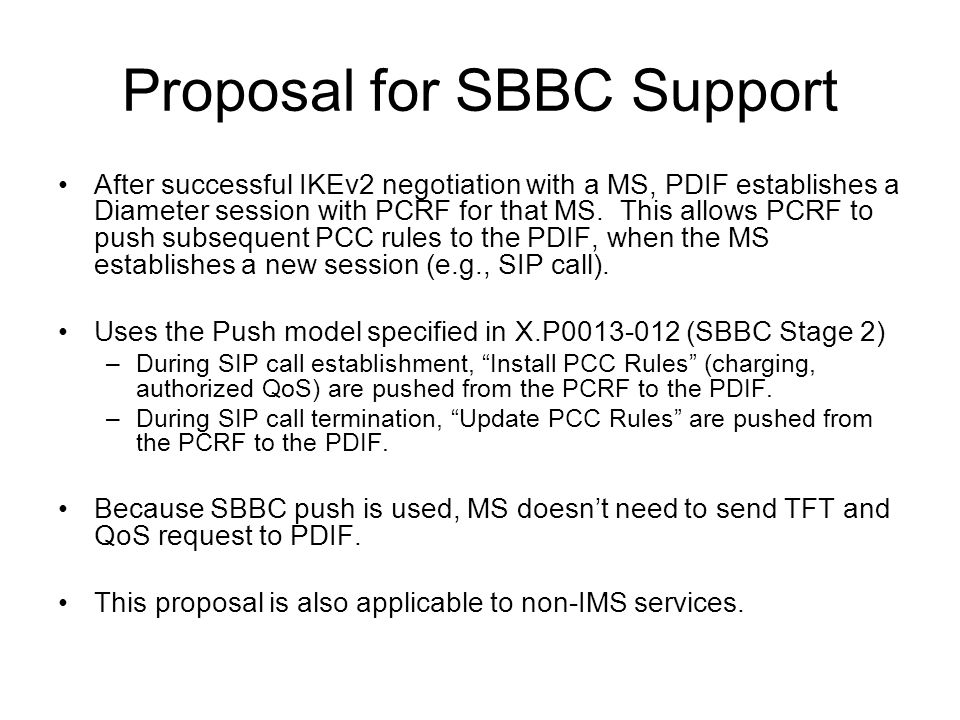 Proposal for SBBC Support