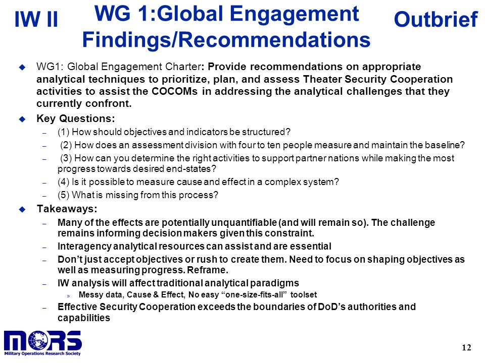 WG 1:Global Engagement Findings/Recommendations