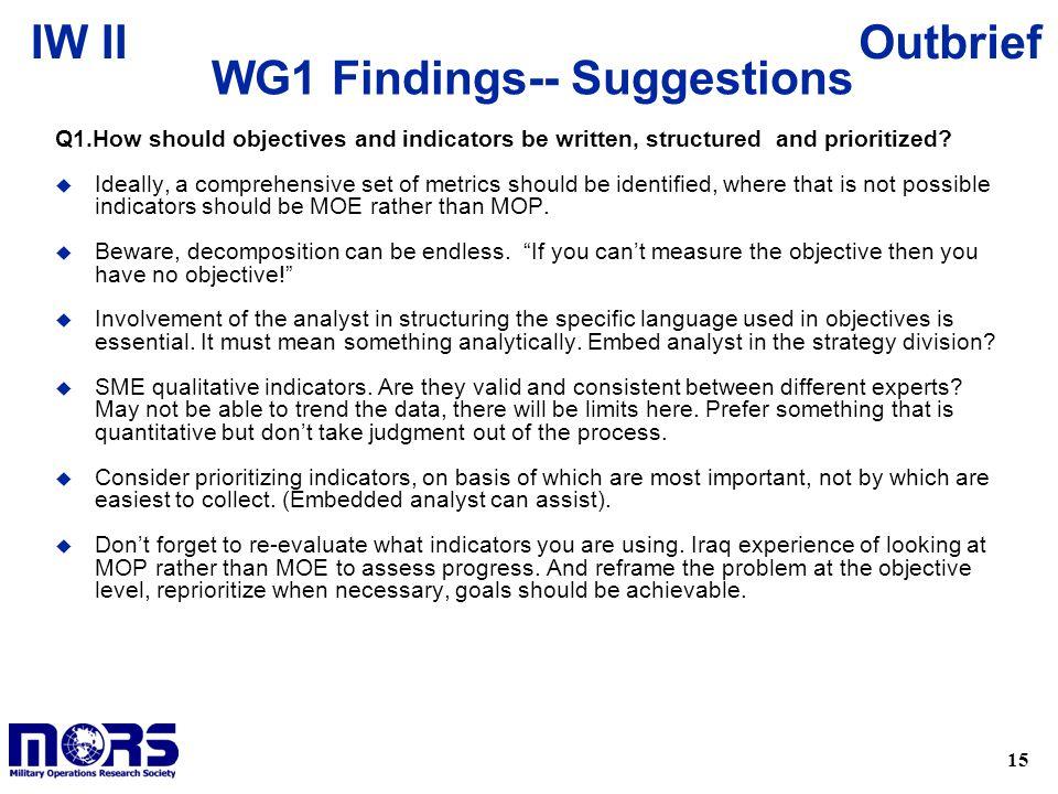 WG1 Findings-- Suggestions