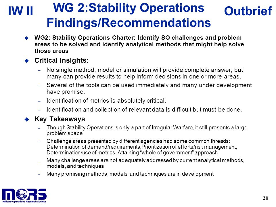WG 2:Stability Operations Findings/Recommendations