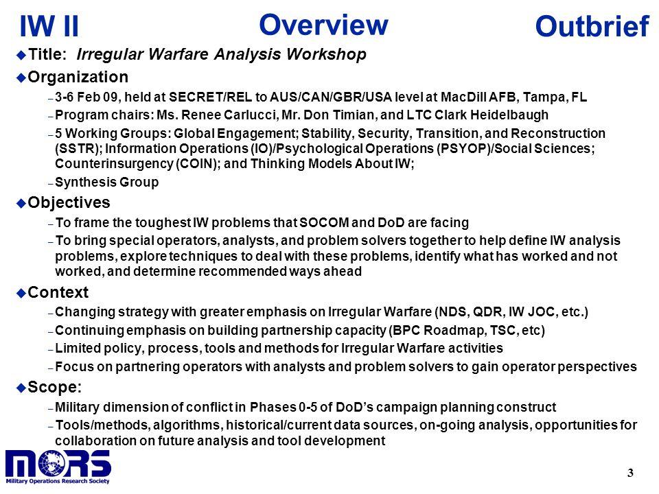 Overview Title: Irregular Warfare Analysis Workshop Organization