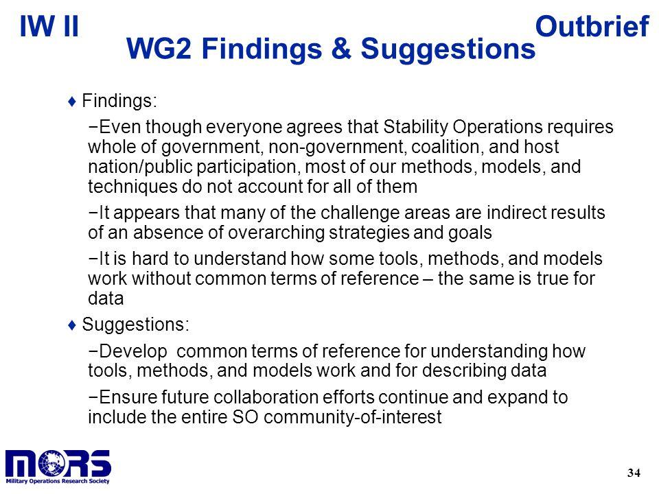 WG2 Findings & Suggestions
