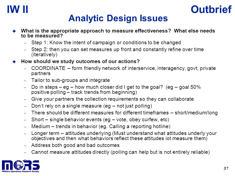 Analytic Design Issues